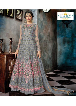 Charming Grey Butterfly Net Salwar kameez