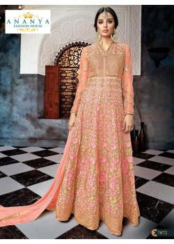 Flamboyant Peach Butterfly Net Salwar kameez
