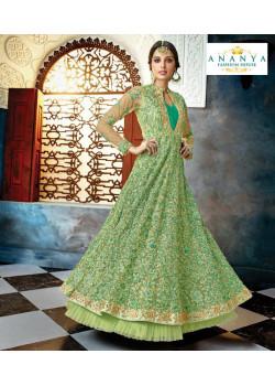 Trendy Pista Green Butterfly Net Salwar kameez