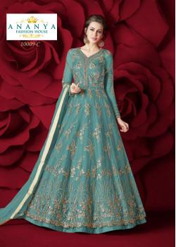 Divine Light Blue Net- Silk Salwar kameez