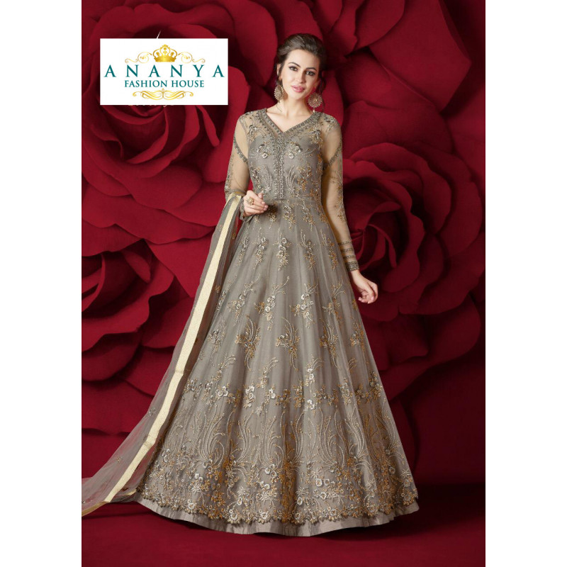 Dazzling Grey Net- Silk Salwar kameez