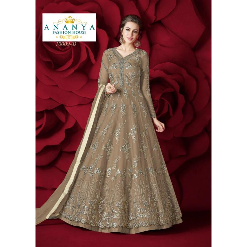 Gorgeous Light Brown Net- Silk Salwar kameez