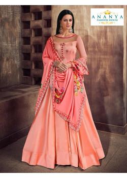 Incredible Peach Silk Salwar kameez