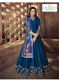 Magnificient Dark Blue Silk Salwar kameez