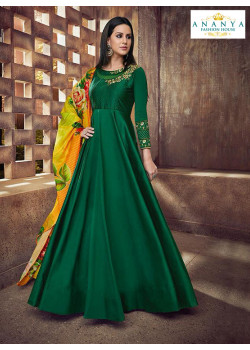 Plushy Bottle Green Silk Salwar kameez