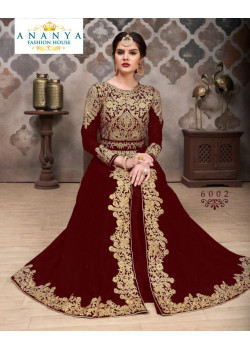 Adorable Maroon Faux Georgette- Santoon Salwar kameez