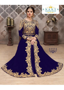 Luscious Dark Blue Faux Georgette- Santoon Salwar kameez