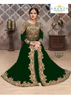 Flamboyant Dark Green Faux Georgette- Santoon Salwar kameez