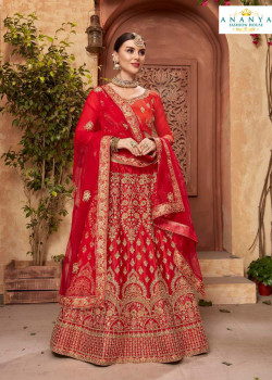 Flamboyant Red - Gold color Satin Silk Designer Lehenga