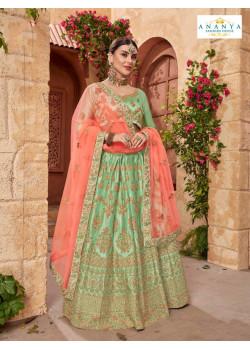 Charming Pastel Green color Satin Silk Designer Lehenga