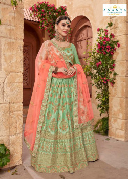 Charming Pastel Green color Satin Silk Designer Lehenga