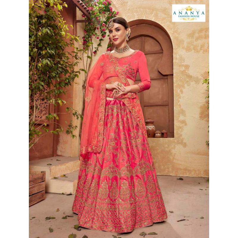 Dazzling Magenta color Satin Silk Designer Lehenga