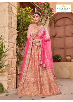 Melodic Pink color Satin Silk Designer Lehenga
