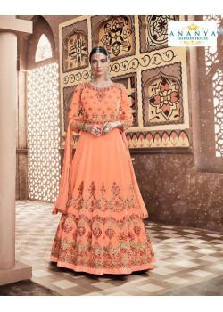 Charming Light Orange Georgette- Dull Santoon Salwar kameez