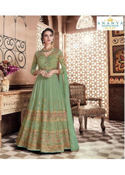 Trendy Pista Green Georgette- Dull Santoon Salwar kameez