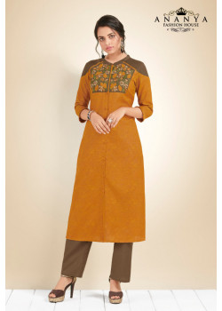 Trendy Mustard Cotton Kurti