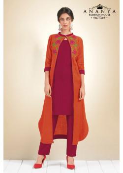 Charming Magenta, Orange Cotton Kurti
