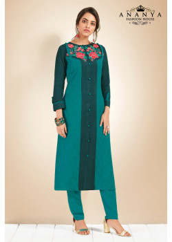 Divine Blue Cotton Kurti