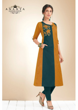 Exotic Mustard, Blue Cotton Kurti
