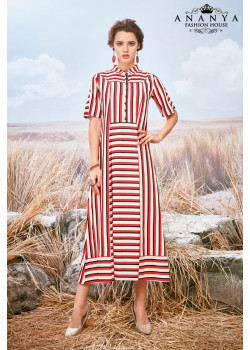 Luscious Red, White Pure viscose Kurti