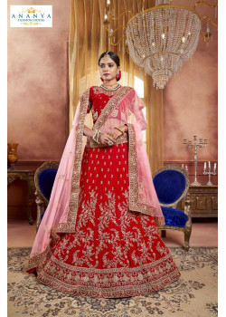 Luscious Red color Velvet Designer  Lehenga