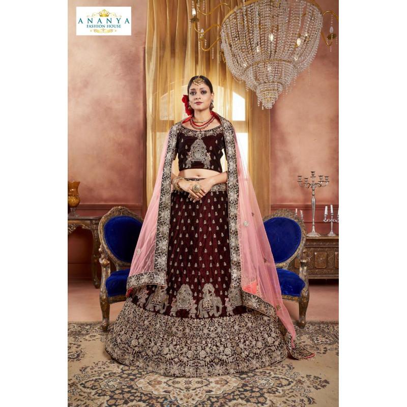 Adorable Brown color Velvet Designer  Lehenga
