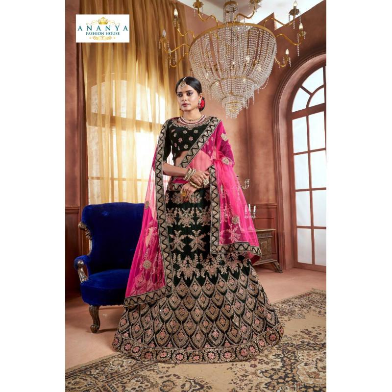 Classic Black color Velvet Designer  Lehenga