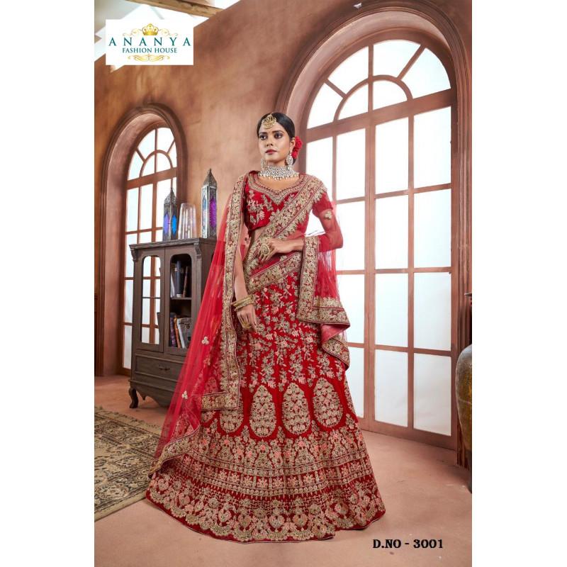 Incredible Red color Velvet Designer  Lehenga