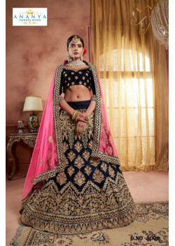 Plushy Dark Blue color Velvet Designer  Lehenga