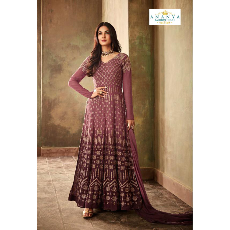 Adorable Violet Georgette- Santoon Salwar kameez
