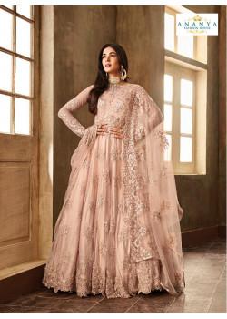 Incredible Pastel Pink Net- Satin Salwar kameez