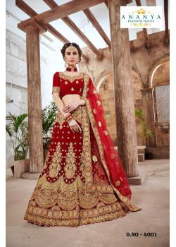 Trendy Red color Velvet Wedding Lehenga