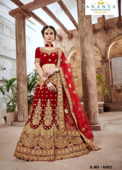 Trendy Red color Velvet Wedding Lehenga