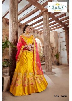 Charming Yellow color Nylon - Satin   Designer Lehenga