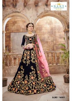 Exotic Dark Blue color Velvet Designer Lehenga