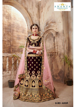 Magnificient Maroon color Velvet Wedding Lehenga
