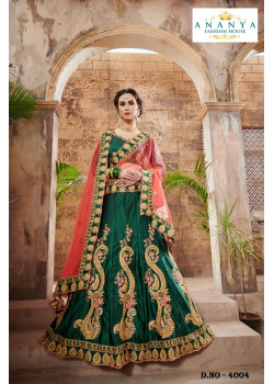 Dazzling Bottle Green color Nylon - Satin   Designer Lehenga