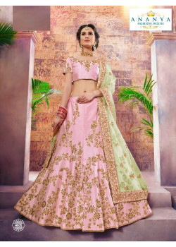 Divine Light Pink color Nylon - Satin   Designer Lehenga