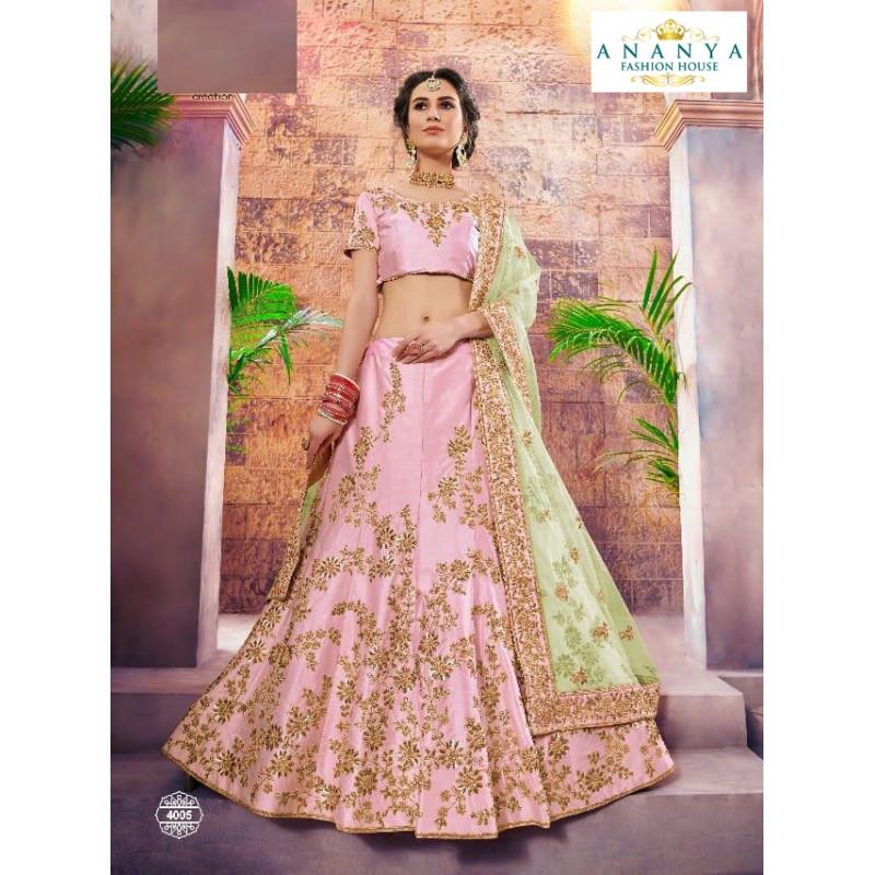 Divine Light Pink color Nylon - Satin   Designer Lehenga