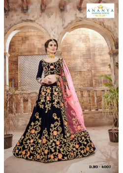 Exotic Dark Blue color Velvet Designer Lehenga