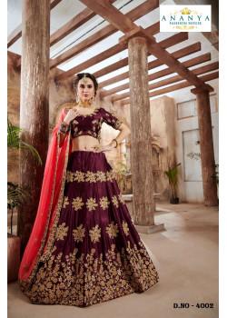 Melodic Purple color Nylon - Satin - Silk Designer Lehenga