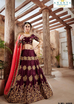 Melodic Purple color Nylon - Satin - Silk Designer Lehenga