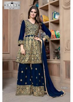 Gorgeous Dark Blue Faux Georgette Salwar kameez