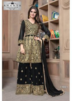 Dazzling Black Faux Georgette Salwar kameez