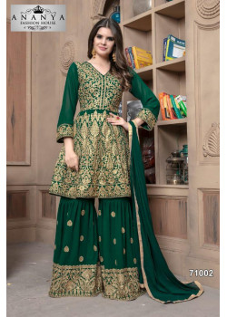 Divine Bottle Green Faux Georgette Salwar kameez