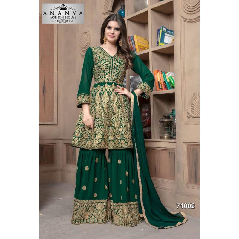 Divine Bottle Green Faux Georgette Salwar kameez