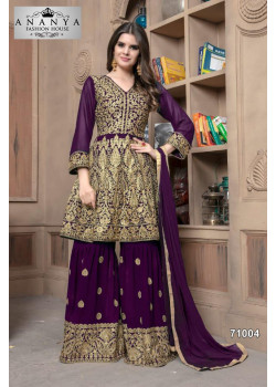 Exotic Purple Faux Georgette Salwar kameez