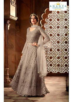 Enigmatic Grey Net- Satin Salwar kameez
