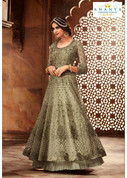 Incredible Pastel Green Net- Satin Salwar kameez
