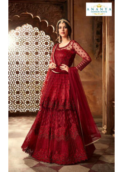 Magnificient Wine Net- Satin Salwar kameez